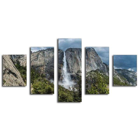 Mountain Peaks And Waterfalls Canvas Wall Art