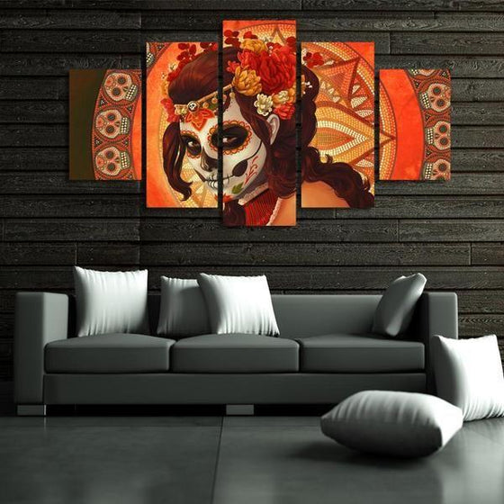 Day Of The Dead Inspired Face Sugar Skull Canvas Wall Art Living Room