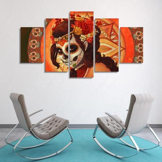 Day Of The Dead Inspired Face Sugar Skull Canvas Wall Art