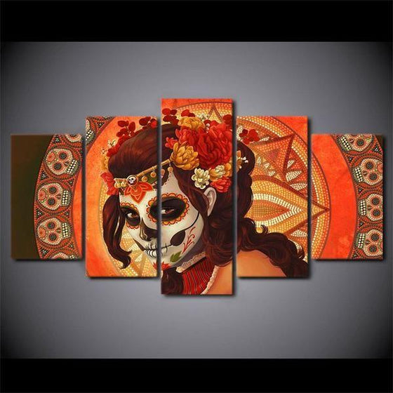 Day Of The Dead Inspired Face Sugar Skull Canvas Wall Art Ideas