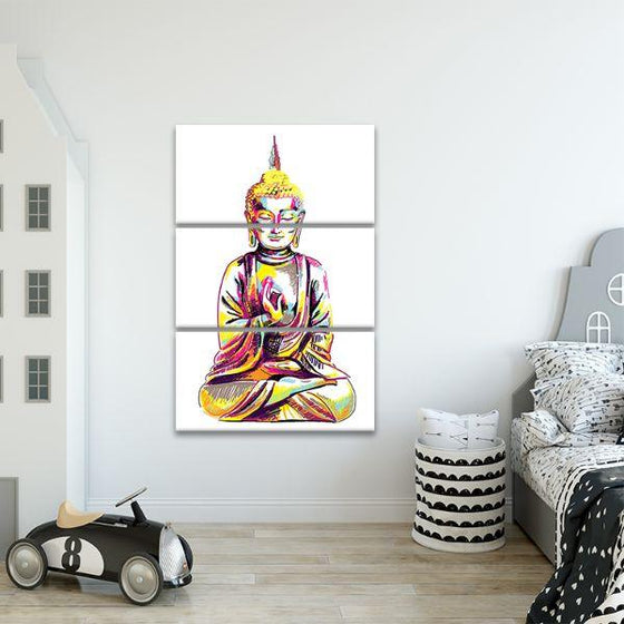 Multicolored Buddha 3 Panels Canvas Wall Art Decor
