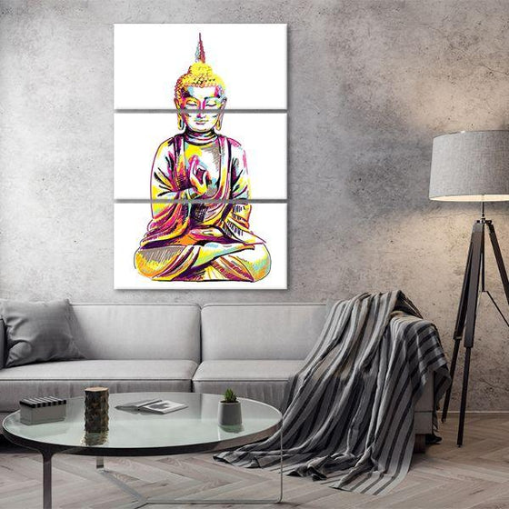 Multicolored Buddha 3 Panels Canvas Wall Art Living Room