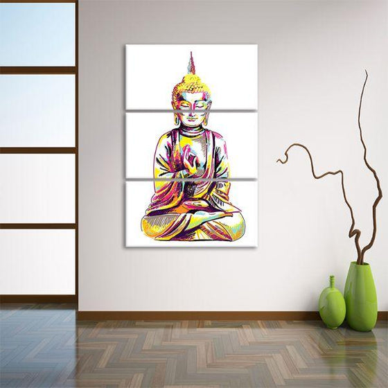Multicolored Buddha 3 Panels Canvas Wall Art Print
