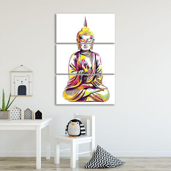 Multicolored Buddha 3 Panels Canvas Wall Art Set
