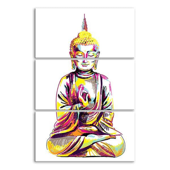 Multicolored Buddha 3 Panels Canvas Wall Art
