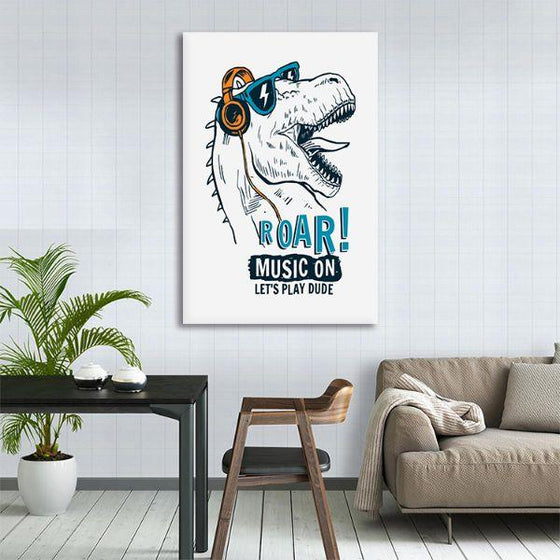 Music Lover Dinosaur Canvas Wall Art Decor