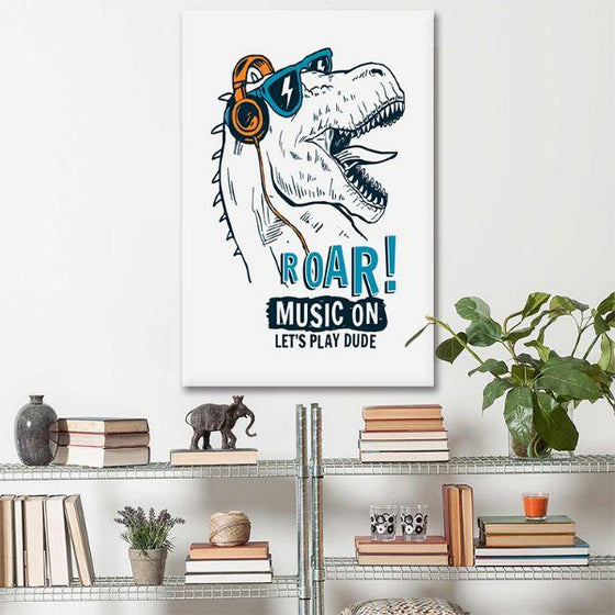 Music Lover Dinosaur Canvas Wall Art Living Room