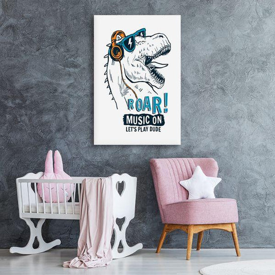 Music Lover Dinosaur Canvas Art