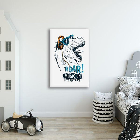 Music Lover Dinosaur Canvas Wall Art Print