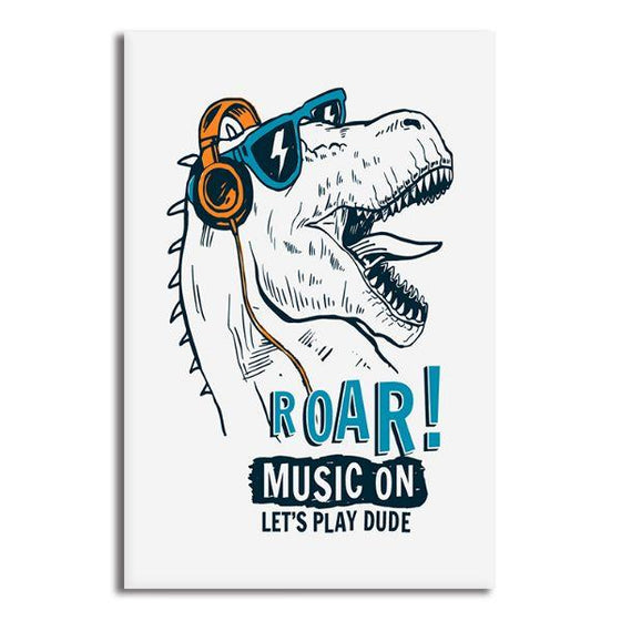 Music Lover Dinosaur Canvas Wall Art