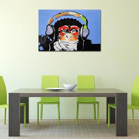 Music Lover Monkey Canvas Wall Art Dining Room