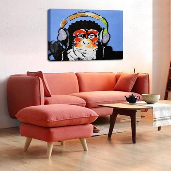 Music Lover Monkey Canvas Wall Art Living Room