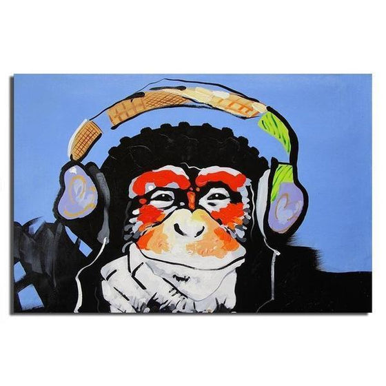 Music Lover Monkey Canvas Wall Art