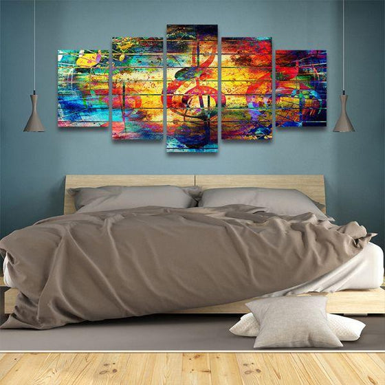 Musical Notes Abstract 5-Panel Canvas Wall Art Bedroom