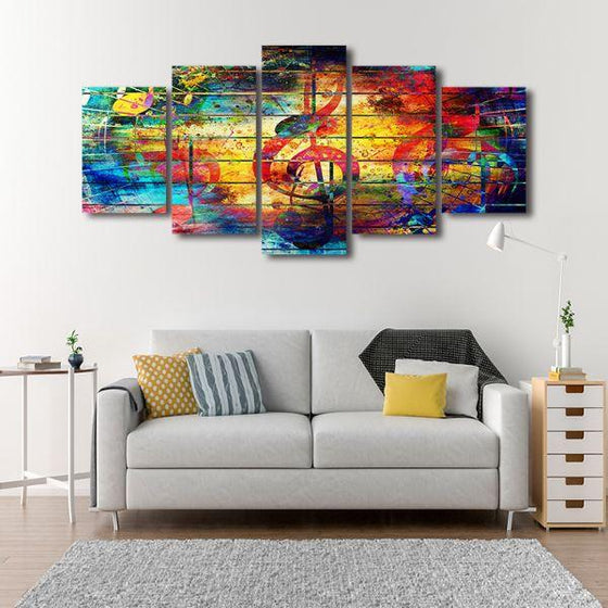 Musical Notes Abstract 5-Panel Canvas Wall Art Decor