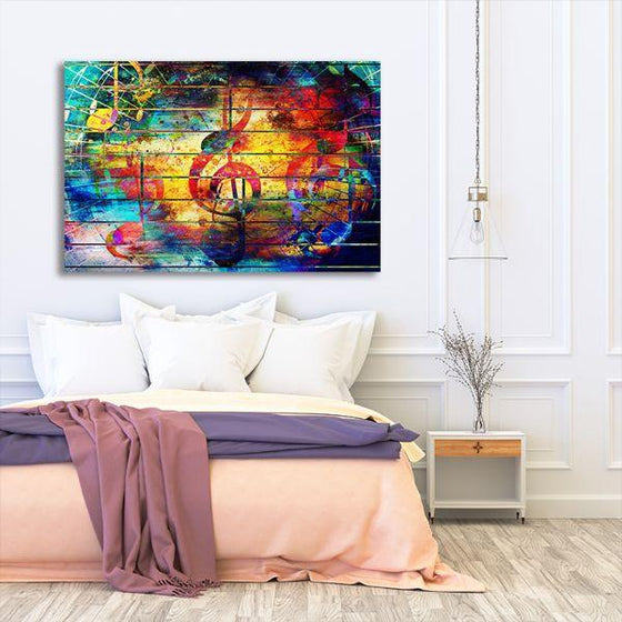 Musical Notes Abstract Canvas Wall Art Bedroom