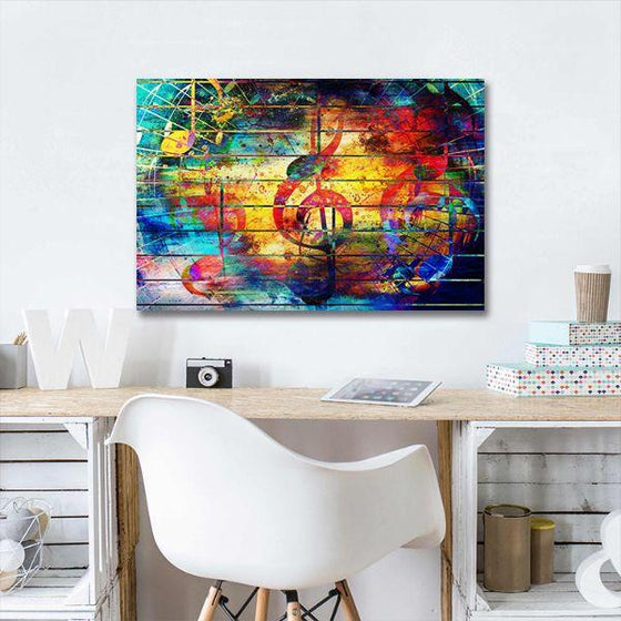 Musical Notes Abstract Canvas Wall Art Decor