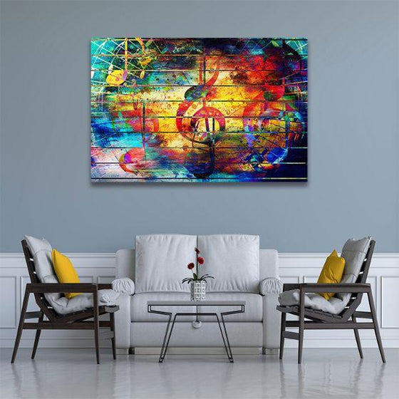 Musical Notes Abstract Canvas Wall Art Living Room