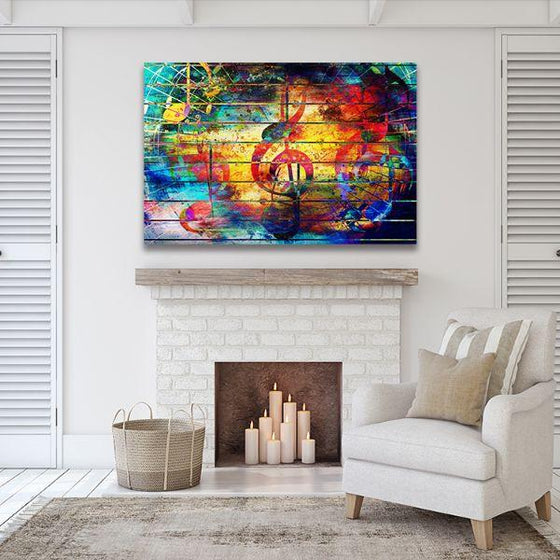 Musical Notes Abstract Canvas Wall Art Print