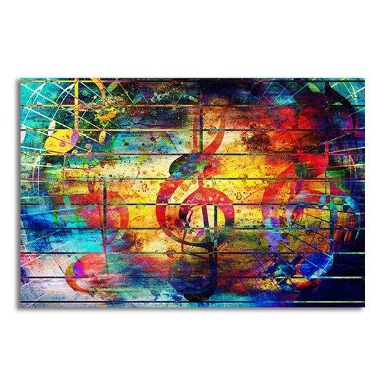 Musical Notes Abstract Canvas Wall Art