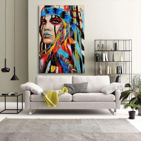 Colorful Native American Girl Canvas Art