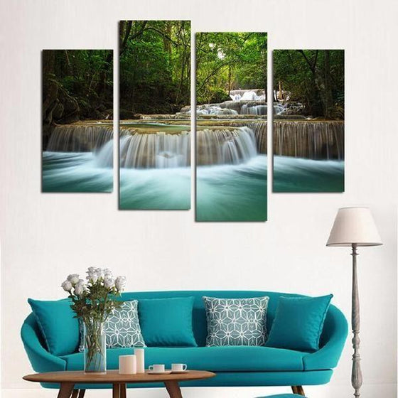 Forest Waterfalls Canvas Wall Art Living Room