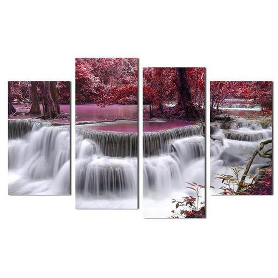 Waterfall & Purple Trees Canvas Wall Art
