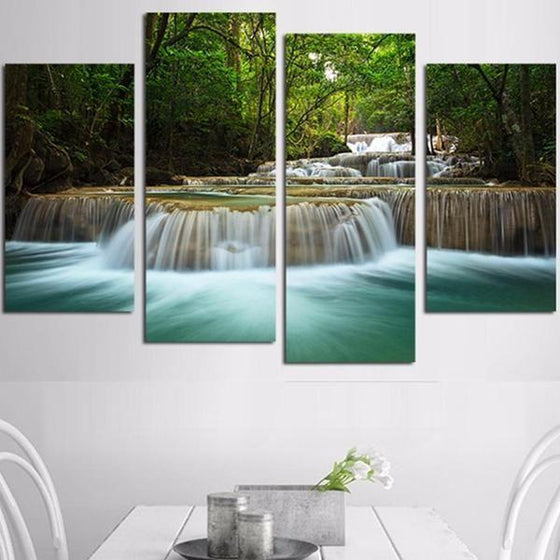 Forest Waterfalls Canvas Wall Art Dining Room