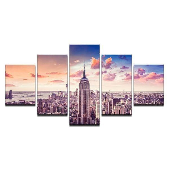 New York City At Sunset Canvas Wall Art