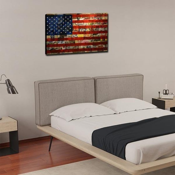 Newspaper American Flag Wall Art Bedroom