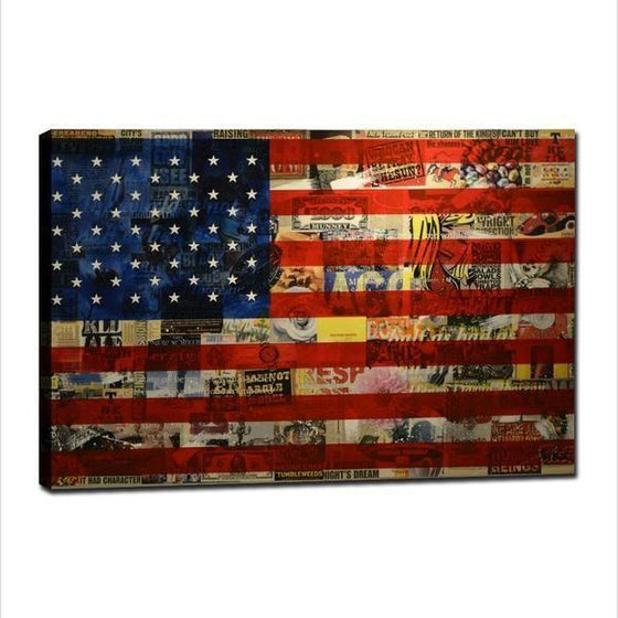 Newspaper American Flag Wall Art Canvas