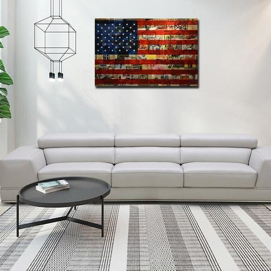Newspaper American Flag Wall Art Decor