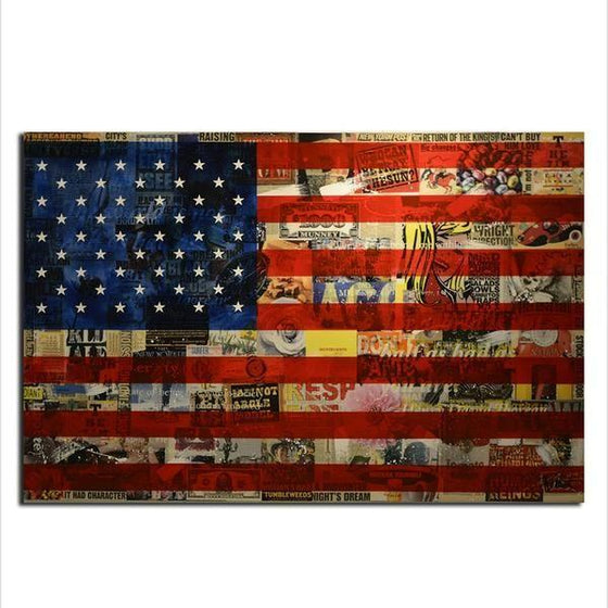 Newspaper American Flag Wall Art