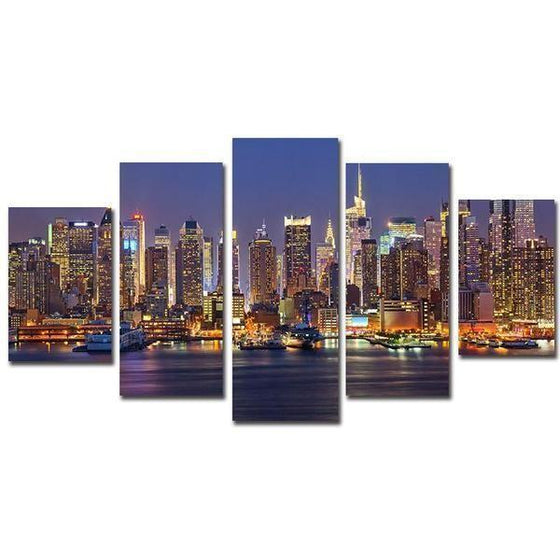 NYC Manhattan At Night Canvas Wall Art