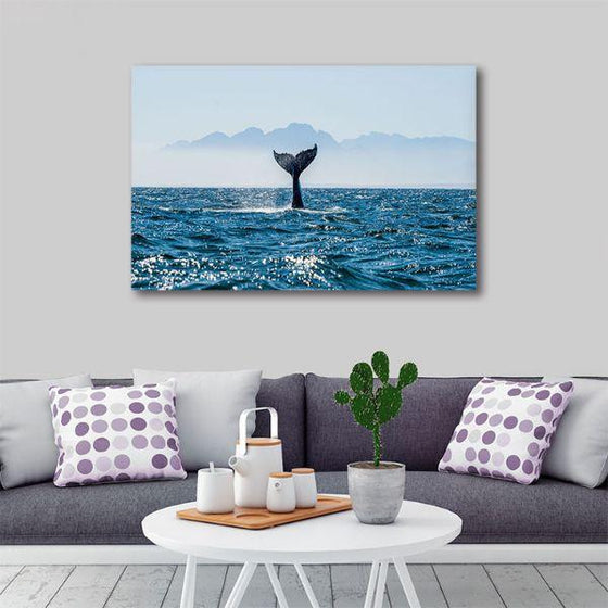 Ocean & Whale's Tale 1 Panel Canvas Wall Art Living Room