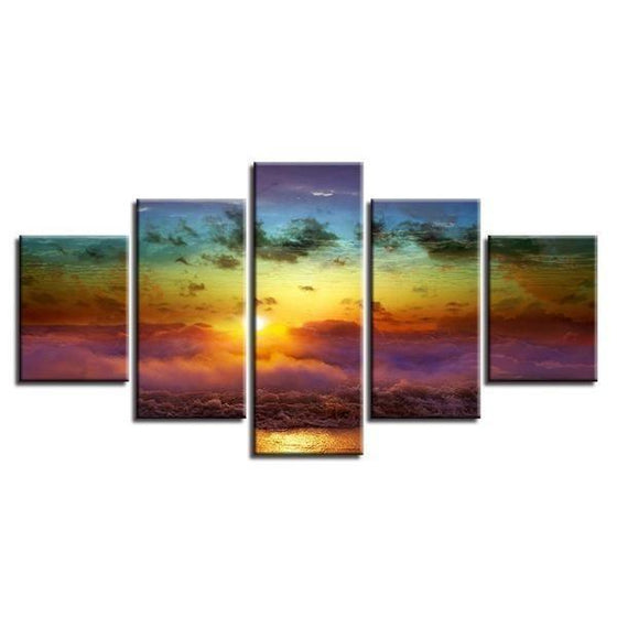 Ocean Beach View Sunset Canvas Wall Art