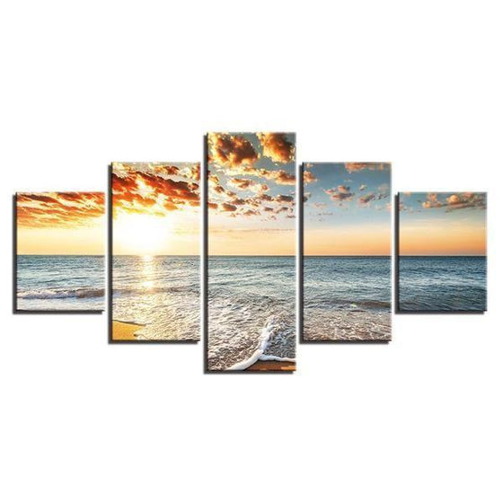 Beach Side Sunset View Canvas Wall Art Decor