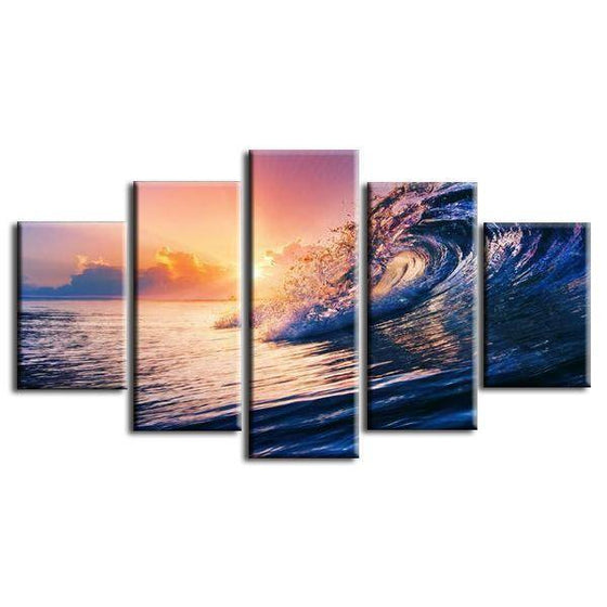 Ocean Wave Sunset Canvas Wall Art