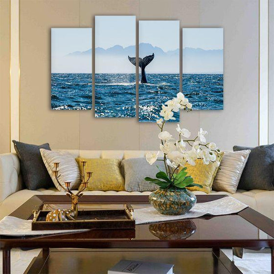 Ocean & Whale's Tale 4 Panels Canvas Wall Art Living Room