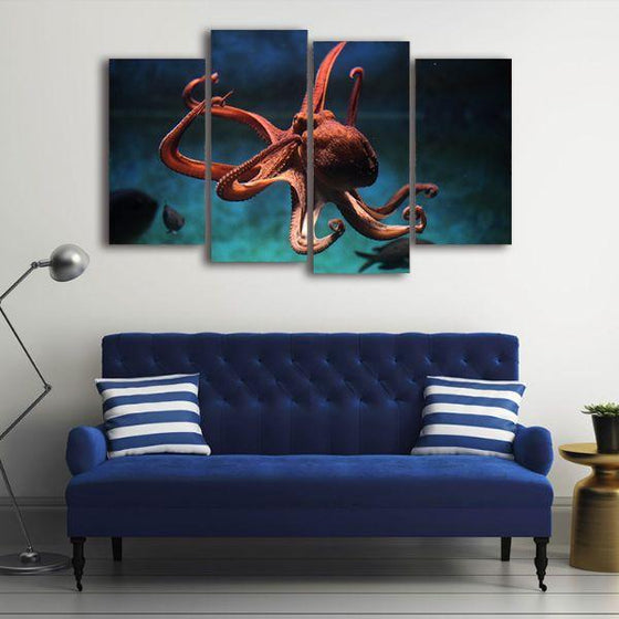Amazing Octopus 4 Panels Canvas Wall Art Decor
