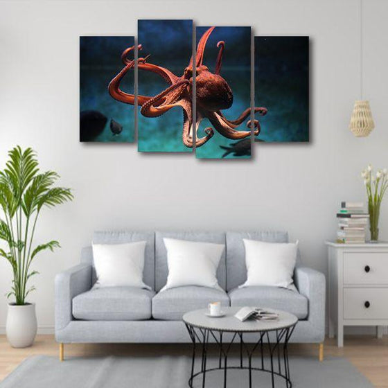 Amazing Octopus 4 Panels Canvas Wall Art Living Room