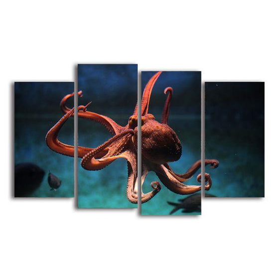 Amazing Octopus 4 Panels Canvas Wall Art