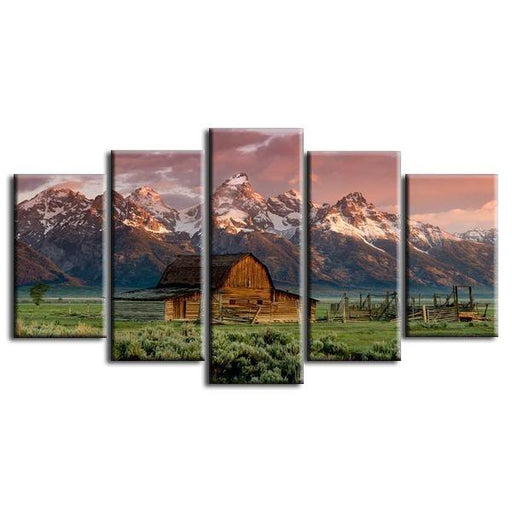 Old Barn Mountains Canvas Wall Art