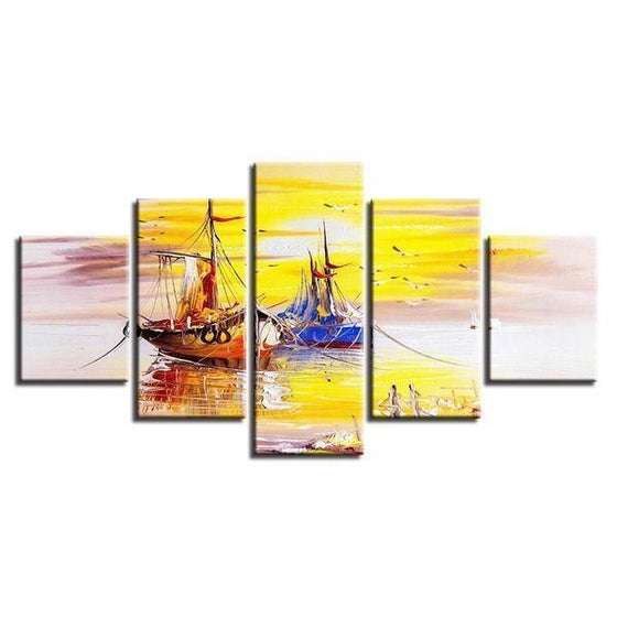 Old Fishing Boats Canvas Wall Art