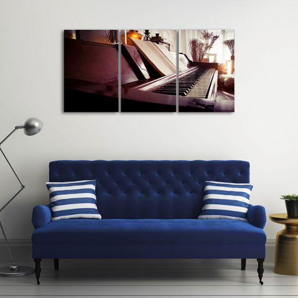 Old Piano 3 Panels Canvas Wall Art Decor
