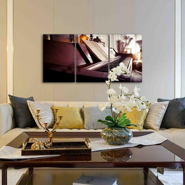 Old Piano 3 Panels Canvas Wall Art Living Room