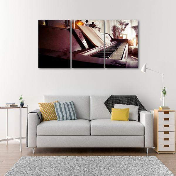 Old Piano 3 Panels Canvas Wall Art Print