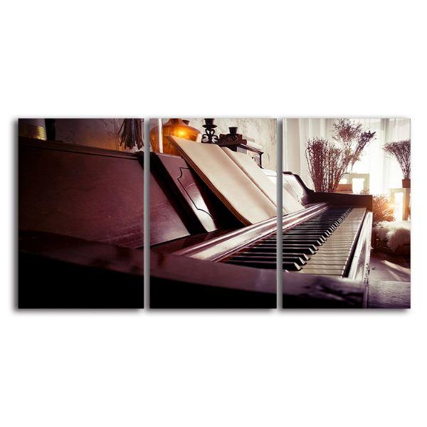 Old Piano 3 Panels Canvas Wall Art