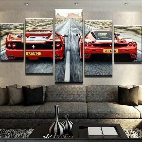 Old Vs New Ferrari Canvas Wall Art Decor
