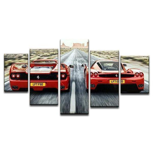 Old Vs New Ferrari Canvas Wall Art